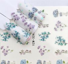 Nail Art Water Decals Transfers Stickers Spring Summer Flowers Floral Fern 3240