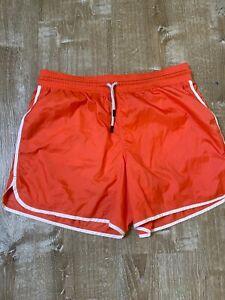 Lululemon Orange White  Nylon Lined Running Shorts Drawstring XL