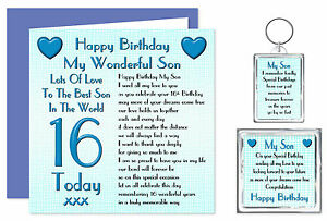 16th Son Happy Birthday Gift Set - Card, Keyring & Magnet 16 Today  Lots Of Love
