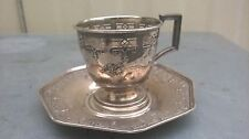 China antique Sterlin silver Bottomless cup and tray of flowers and birds