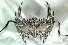 Womens Superhero Costume Metal Venetian Masquerade Mask [Black w/ Rhinestones]