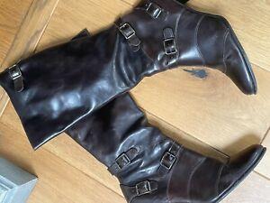 Next Knee High Dark Brown Buckle Boots Size 7