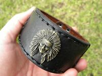 Cuff  Bracelet wristband  Buffalo Leather Indian Chief nice for motorcycle biker