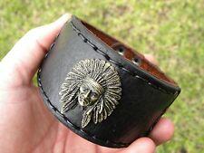 Cuff  handmade signed Bracelet wristband   Buffalo Leather  Indian Chief Ketoh