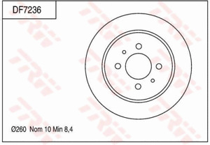 TRW Brake Rotor Pair Rear DF7236S fits Proton Persona 315 GLi/GLSi, 316, 316 ...