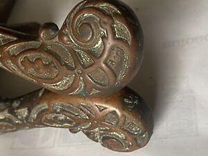 Alte Türklinke Messing Bronze Türgriff Jugendstil