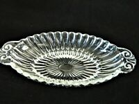 "CANDY CONDIMENT DISH OBLONG CLEAR GLASS  APPROX. 8"" LONG WITH HANDLES, VINTAGE"