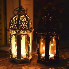 Hanging Moroccan Style Glass Lantern Light Candle Holder Decor 7*19CM DIY H3J9