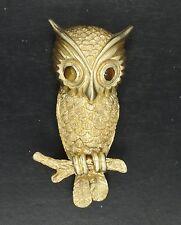 "ESTATE SOLID 14K GOLD SIGNED OWL PIN BROOCH w/ TIGER'S EYE EYES ~ 1.5"" * 9.5 g"