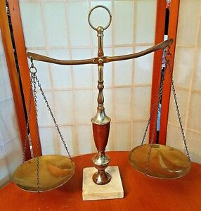 Vintage Scales of Justice Lawyer Scale Brass White Marble Base Wood Mid Century