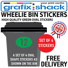 x4 WHEELIE BIN NUMBERS CUSTOM GREEN OVAL SHAPE STICKERS WITH YOUR NUMBERS