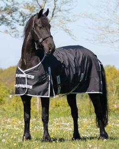 QHP Turnoutdecke Big Neck XXL  Regendecke Friese Kaltblut ohne Füllung, schwarz