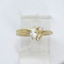 14k Yellow Gold Marquise and Round Diamond Engagement Ring .30ct