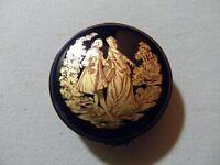Limoges France Limoges Castle France 22K Gold Blue Courting Couple Trinket Box