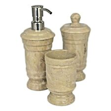 Luxury Sahara Beige Marble 3-Piece Bathroom Accessories Set of Tasmanian Collect