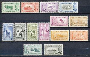 FALKLAND ISLANDS 1952 - definitive set KG-VI ½d upto £ 1.- MLH SET OF 14  Hk618e