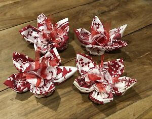 Hand Made Shabby Chic Cotton Flowers X 4