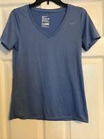 The Nike Tee Dri-Fit Women's Medium Athletic Cut Vneck Blue Short Sleeve Tshirt