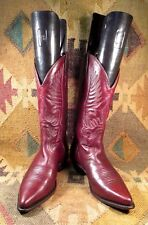 $$$ Boulet Burgundy/Brown  Leather Cowboy Boots size USA -8C Made In Canada
