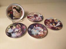 5 Avon Mother's Day Plates 1985 1998 1999 2000 2001 5� Diameter Gold Rim