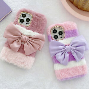 Girly Faux Fur Case W/ Cute Silk Bow Soft Fluffy Furry Shockproof Phone Cover A5