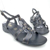 Rieker Ankle T-Strap Sandals Black Leather Studded Shoes Womens Size 38 7-7.5