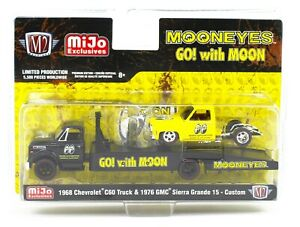 1:64 M2 Machines *MiJo EX* MOONEYES Chevy 60 Ramp Truck & GMC Sierra 15 *NIP*