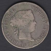 Devise 1 Escudo Isabelle II - Année 1867 - Real Madrid