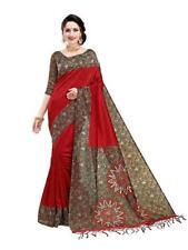 Women's Art Mysore Silk Indian Ethnic Wedding Party Wear Saree Designer Red Sari
