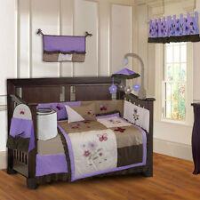 BabyFad 10 Piece Purple Blossom Girls Baby Crib Bedding
