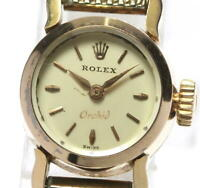 ROLEX Orchid 18K Yellow Gold Silver Dial Hand Winding Ladies Watch_538919