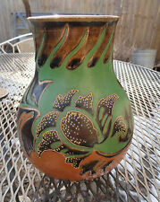 Antique Art Pottery Vase Modernest Eames Era Green Rust & Gold Leafy Decoration