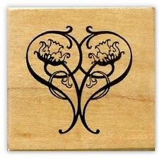 Art Nouveau Heart Mounted rubber stamp, love, Valentine #18