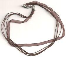 Brown De Cinta De Organza & algodón encerado, Collar Cuerdas X 5