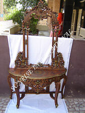 Antique Style Hand Carved Wooden Dressing table with Mirror Frame !