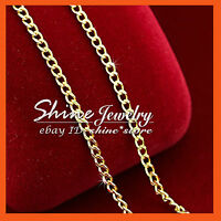 24K YELLOW GOLD GF N01 CURB RING CHAIN for pendant WOMENS SOLID NECKLACE 45CM