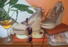 Stunning Chloe gold silk and blonde wood platform shoes Euro 40 1/2 Run small.