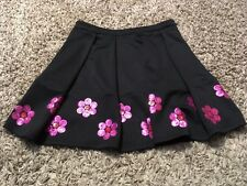 By By Girl Youth Girl Black Dress Skirt Pleated Sequins Pink Flowers Size 10 12