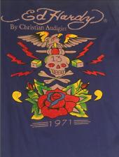 "ED HARDY T-SHIRT - PURPLE XL - ""13"" - Chrisitan Audigier - Rhinestones"