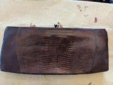 Vtg SYDNEY California Lizard Reptile Skin  Hand Bag  Brown Purse clutch