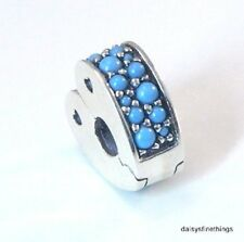 AUTHENTIC PANDORA SILVER CLIP  ARCS OF LOVE, CYAN BLUE CRYSTALS #797227NYA