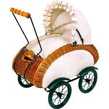 Puppenwagen Korbwagen Retro Stubenwagen Verdeck klappbar Kinderwagen Korbwagen