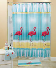 Tropical Paradise Flamingo Shower Curtain Bath Rug Hooks Beach Birds Bath Decor