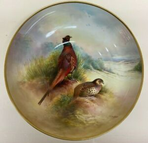 Aynsley China Handpainted Bowl By Lawrence Woodhouse Pheasants In A Landscape