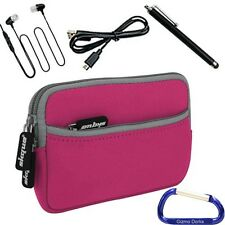 Sleeve Cover Case, Stylus, Headphone, USB Cable for Elsse 4.3 Inch Tablet - Pink