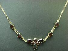 8kt 333 Gelbgold Collier mit 5,34ct Granat Besatz / 45,5 cm