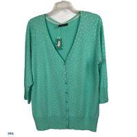 MAURICES Women's Cardigan Sweater Sz 20-22 (Plus 2) Green & White Polka Dot