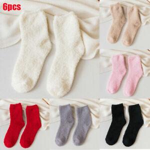 6 Pairs Christmas Fluffy Cosy Socks Winter Warm Ladies Soft Casual Xmas Bed Sock