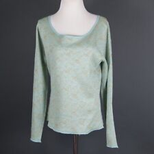 TSE Bergdorf Goodman Silk Blend pullover Shirt Long Sleeve Blue w Shiny Gold XL