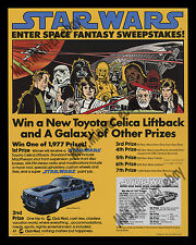 MOVIE THEATER Star Wars TOYOTA CELICA SWEEPSTAKES POSTER DISPLAY W/ ENTRY BLANKS